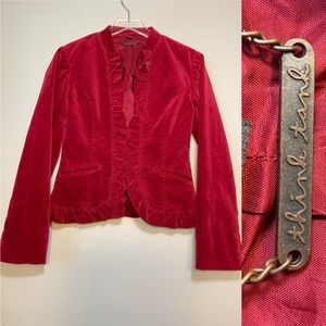 Think Tank | Red Velvet Blazer With Ruffles | S